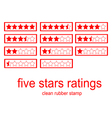 red clean rubber stamp five stars ratings vector image vector image