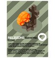 religions color isometric poster vector image