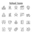 school education icons set in thin line style vector image