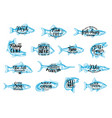 seafood and fishing sport lettering icons vector image vector image