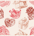 seamless background of the various gift boxes vector image vector image