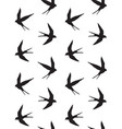 seamless pattern swallow bird silhouette vector image vector image