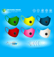 set cloth face mask or washable vector image vector image