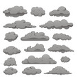 set grey clouds different forms vector image vector image