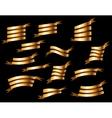 set retro golden ribbons vector image