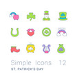 set simple line icons st patricks day vector image