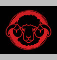sheep or lamb head with big horn cartoon graphic vector image