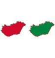 simplified map of hungary outline fill and stroke vector image vector image