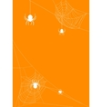 Spider webs on orange background vector image