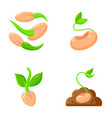 sprout flat icons plant orgainc sapling set vector image vector image