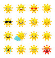 sun emojis on a white background vector image