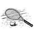 tennis racket and ball hand drawing vector image