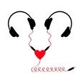 Two headphones Earphones couple Audio splitter vector image vector image