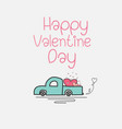 valentine day card with heart truck and love vector image vector image