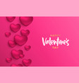 valentines day pink heart shape love concept card vector image vector image