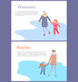 walking mother with child in wintertime vector image vector image