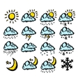 Weather hand drawing icons vector image