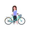 woman hold bike over white background cycling vector image vector image