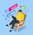 work at home freelance isometric concept design vector image