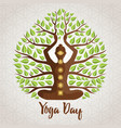 yoga day greeting card woman lotus pose tree vector image vector image