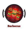 barbecue pan with kebab fried meat on skewers vector image