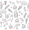 Hand drawn seamless pattern with sweets cupcakes vector image