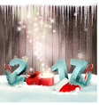 New Year background with a 2017 and magic box vector image
