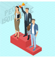 businessman at the first place on a podium vector image
