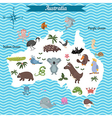 map of australia continent with animals vector image