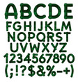 Alphabet letters numbers from green cloth tartan vector image