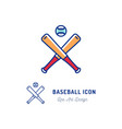 baseball icon two crossed baseball bats and ball vector image