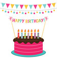 birthday card with a cake and decoration vector image