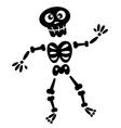 Black skeleton silhouette isolated on white vector image