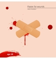 Blood drops and frame with medical plaster vector image vector image