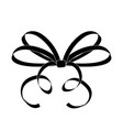 bow thin tied ribbon black icon vector image vector image