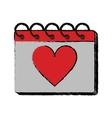 cartoon valentine day calendar love heart date vector image
