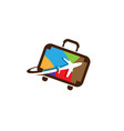 colorful suitcase travel airplane symbol logo vector image vector image