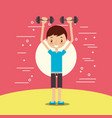 cute boy training lifting dumbbell fitness vector image