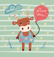 cute cow character balloon cloud flower vector image