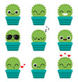 cute happy cactus in blue pot vector image vector image