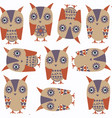 cute owls abstract animals seamless pattern it is vector image vector image