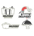 delivery logo templates set for post mail food or vector image vector image