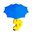 Dollar under umbrella icon isometric 3d style vector image vector image
