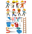 Engineers and construction tools set vector image