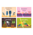 flat design showcase restaurant shop facade icon vector image
