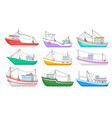 flat set of colorful fishing boats water vector image vector image