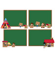 four board template with kids playing vector image vector image