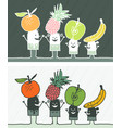 fruits colored cartoon vector image