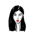 hand drawn portrait an asian girl with red lips vector image vector image