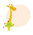 happy cute little giraffe character ballet dancer vector image vector image
